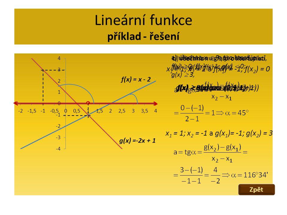 Lineární funkce příklad - řešení