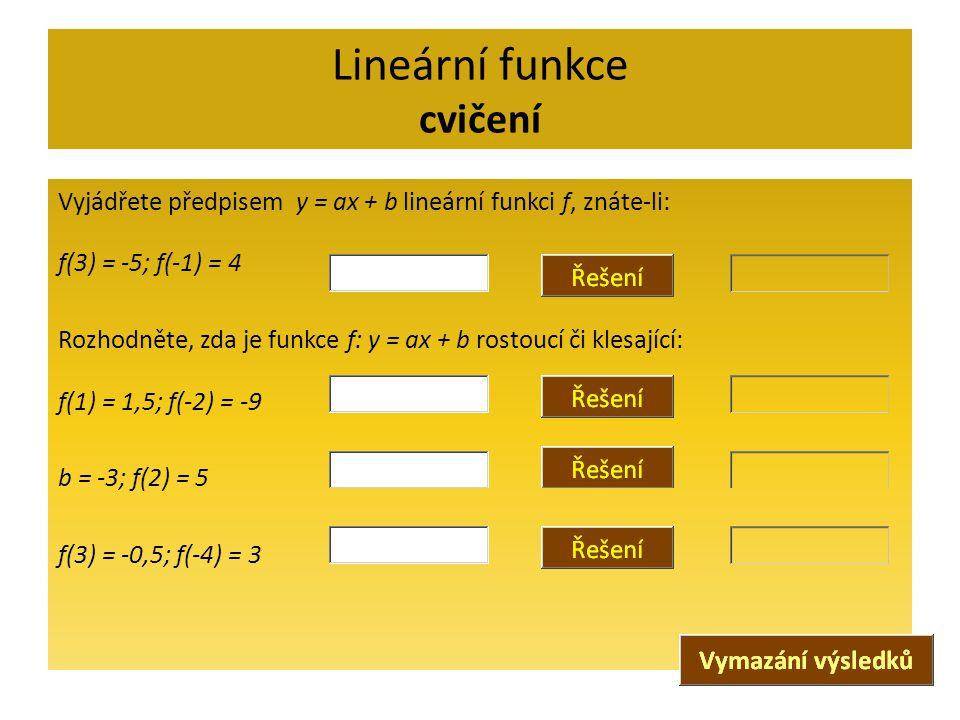 Lineární funkce cvičení