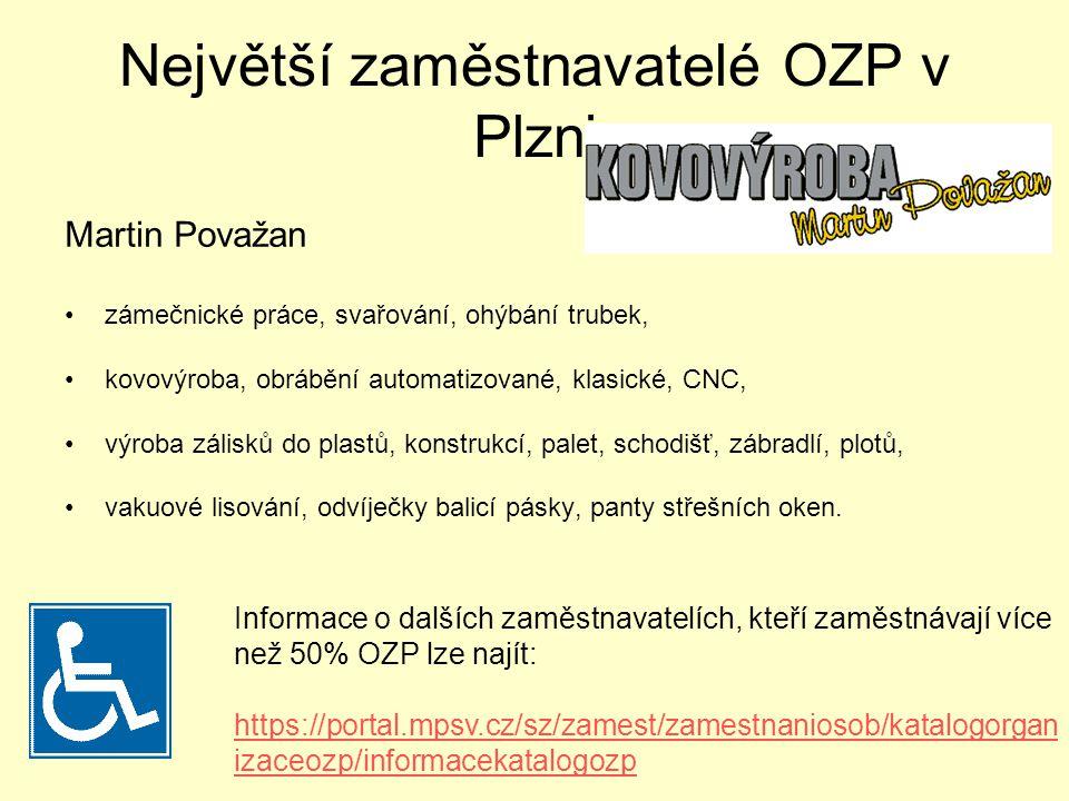 Největší zaměstnavatelé OZP v Plzni