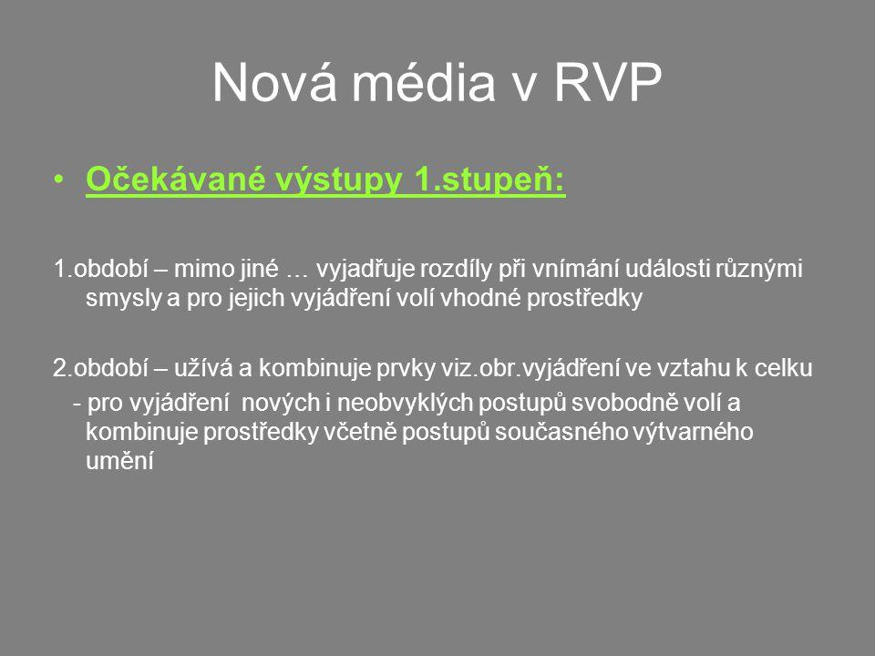 Nová média v RVP Očekávané výstupy 1.stupeň: