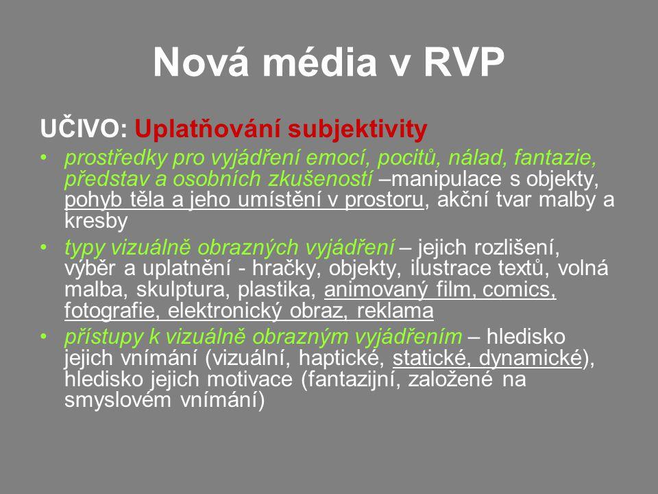 Nová média v RVP UČIVO: Uplatňování subjektivity