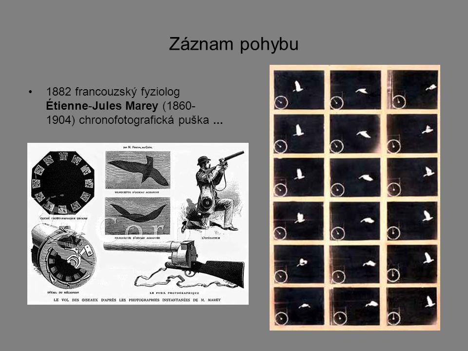 Záznam pohybu 1882 francouzský fyziolog Étienne-Jules Marey (1860-1904) chronofotografická puška ...
