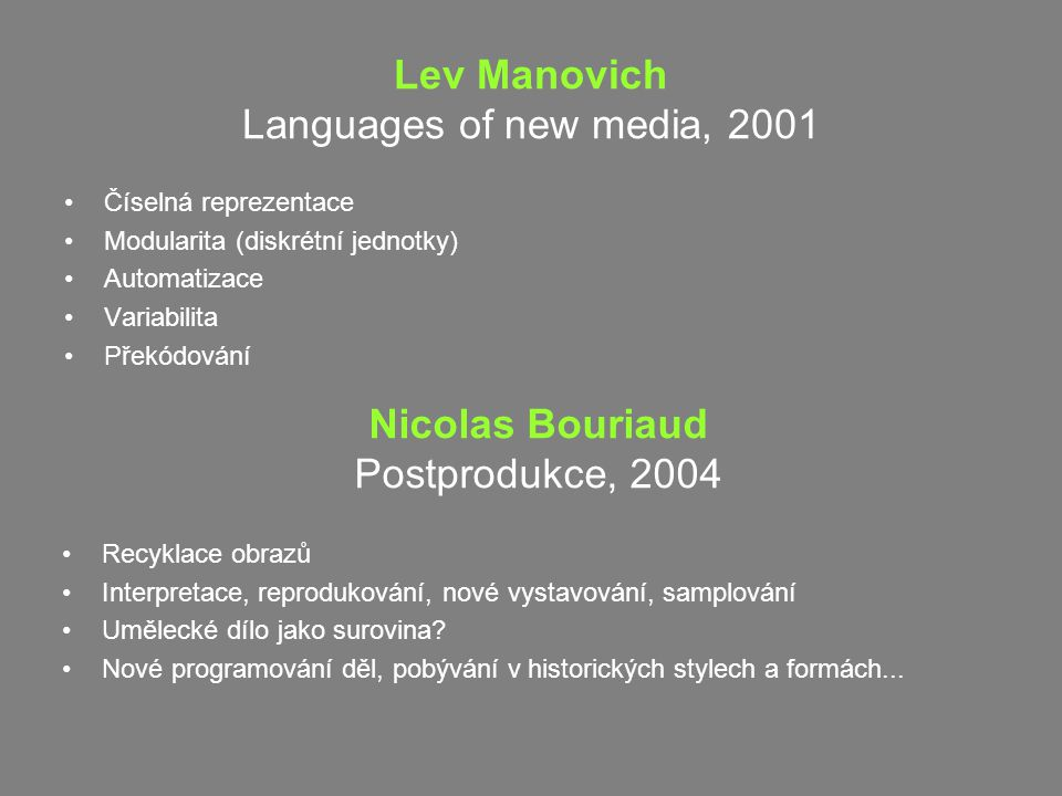 Lev Manovich Languages of new media, 2001