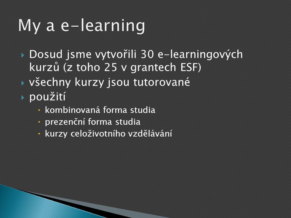 My a e-learning Dosud jsme vytvořili 30 e-learningových kurzů (z toho 25 v grantech ESF) všechny kurzy jsou tutorované.