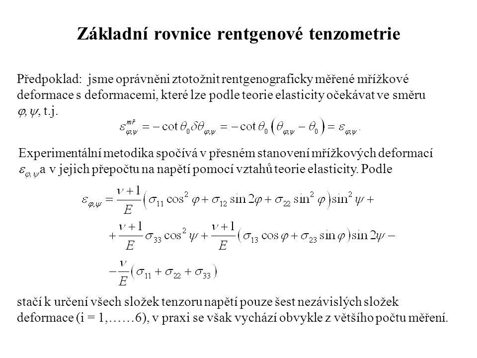 Základní rovnice rentgenové tenzometrie