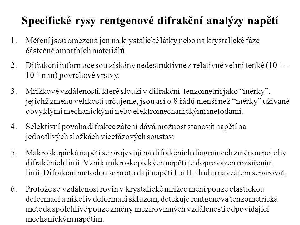 Specifické rysy rentgenové difrakční analýzy napětí
