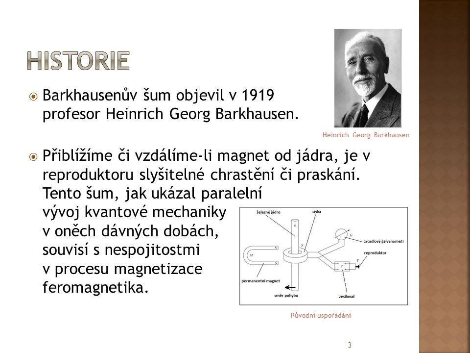 Historie Barkhausenův šum objevil v 1919 profesor Heinrich Georg Barkhausen.