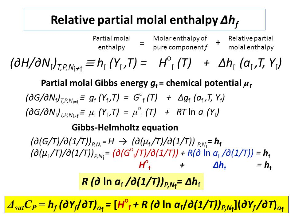 Relative partial molal enthalpy Δhf