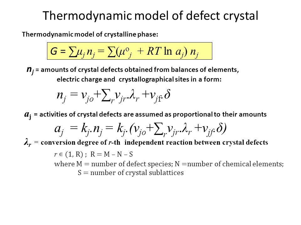 Thermodynamic model of defect crystal