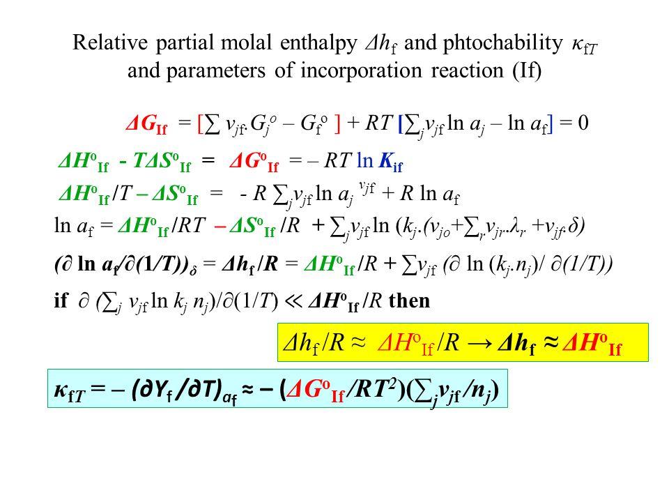 Δhf /R ≈ ΔHoIf /R → Δhf ≈ ΔHoIf