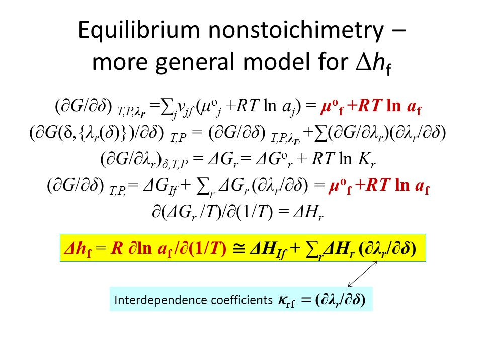 Equilibrium nonstoichimetry – more general model for Δhf
