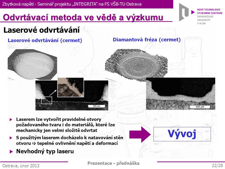 Vývoj Odvrtávací metoda ve vědě a výzkumu Laserové odvrtávání