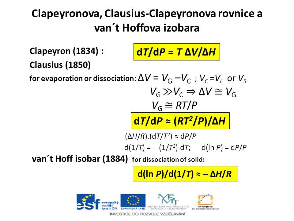 Clapeyronova, Clausius-Clapeyronova rovnice a van´t Hoffova izobara