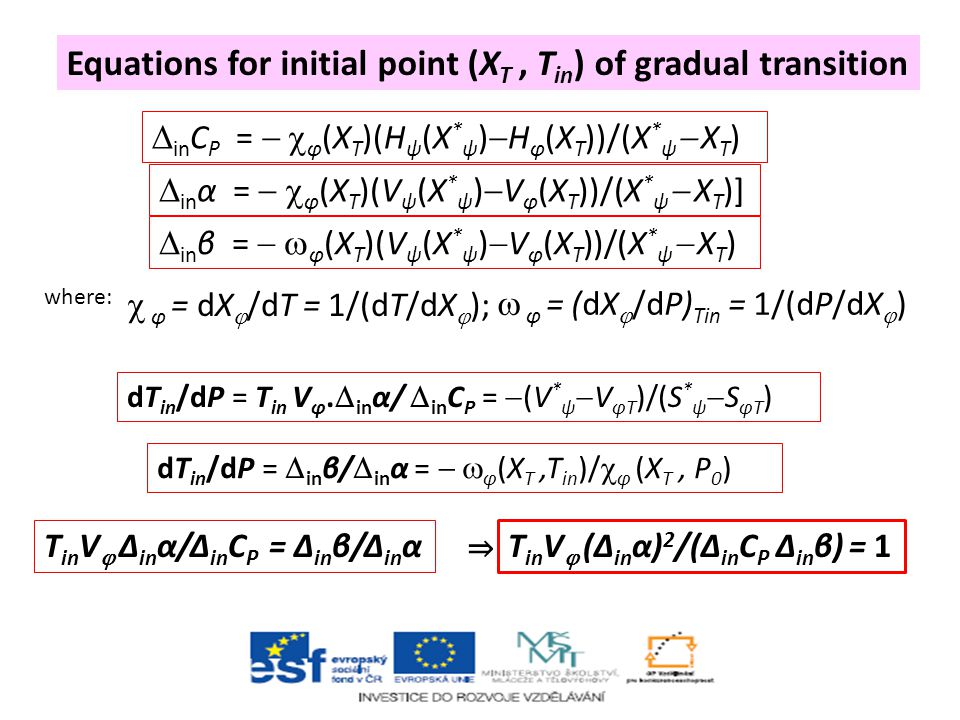 Equations for initial point (XT , Tin) of gradual transition