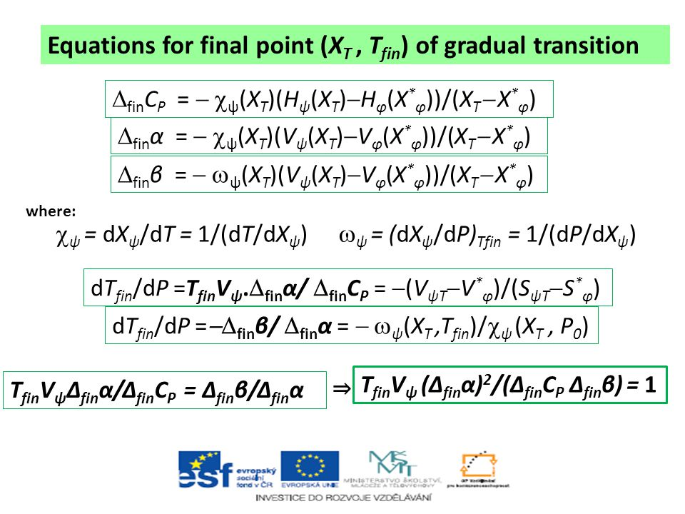 Equations for final point (XT , Tfin) of gradual transition