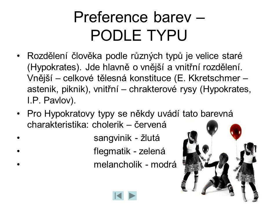 Preference barev – PODLE TYPU