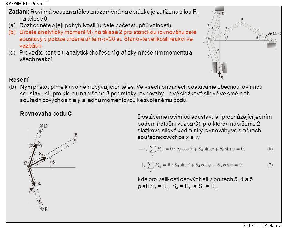 Zadání: Rovinná soustava těles znázorněná na obrázku je zatížena silou F6 na tělese 6.