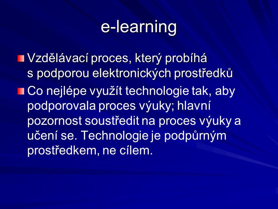 e-learning Vzdělávací proces, který probíhá s podporou elektronických prostředků.