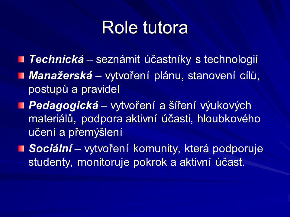 Role tutora Technická – seznámit účastníky s technologií