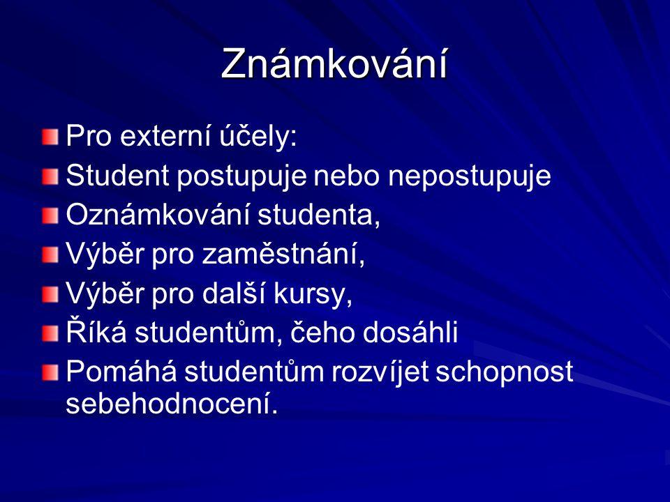 Známkování Pro externí účely: Student postupuje nebo nepostupuje