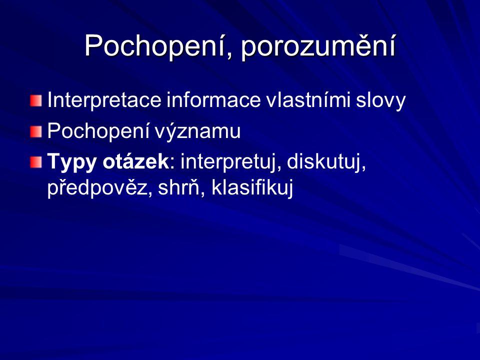 Pochopení, porozumění Interpretace informace vlastními slovy