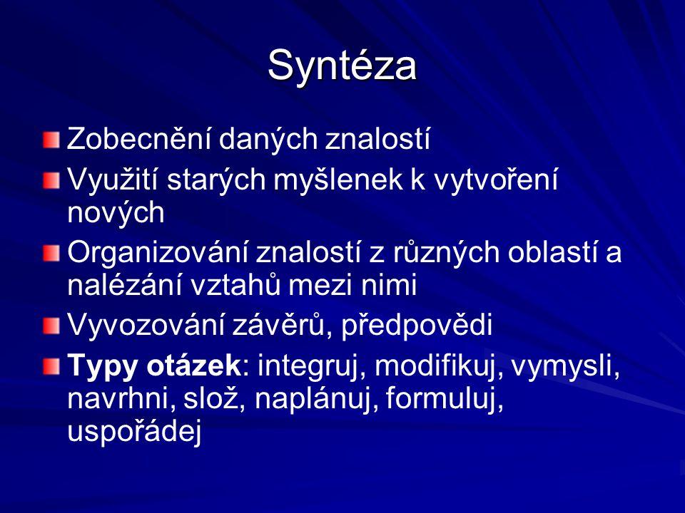 Syntéza Zobecnění daných znalostí
