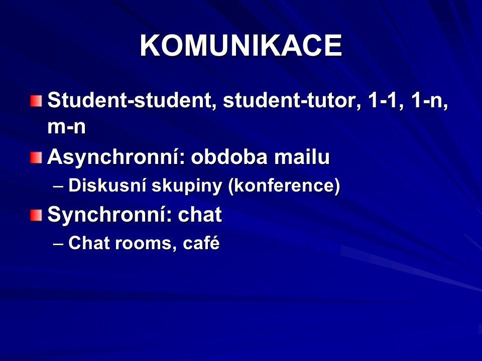 KOMUNIKACE Student-student, student-tutor, 1-1, 1-n, m-n