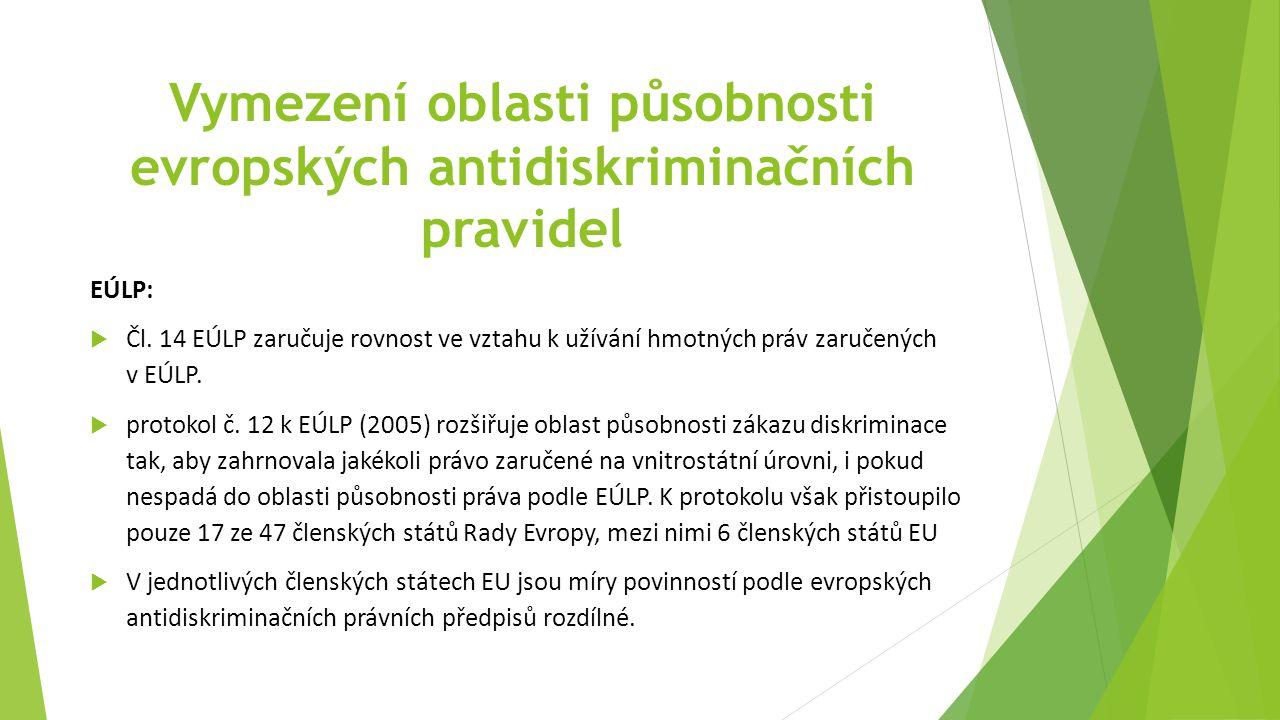 Vymezení oblasti působnosti evropských antidiskriminačních pravidel