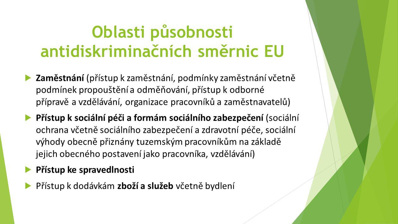 Oblasti působnosti antidiskriminačních směrnic EU
