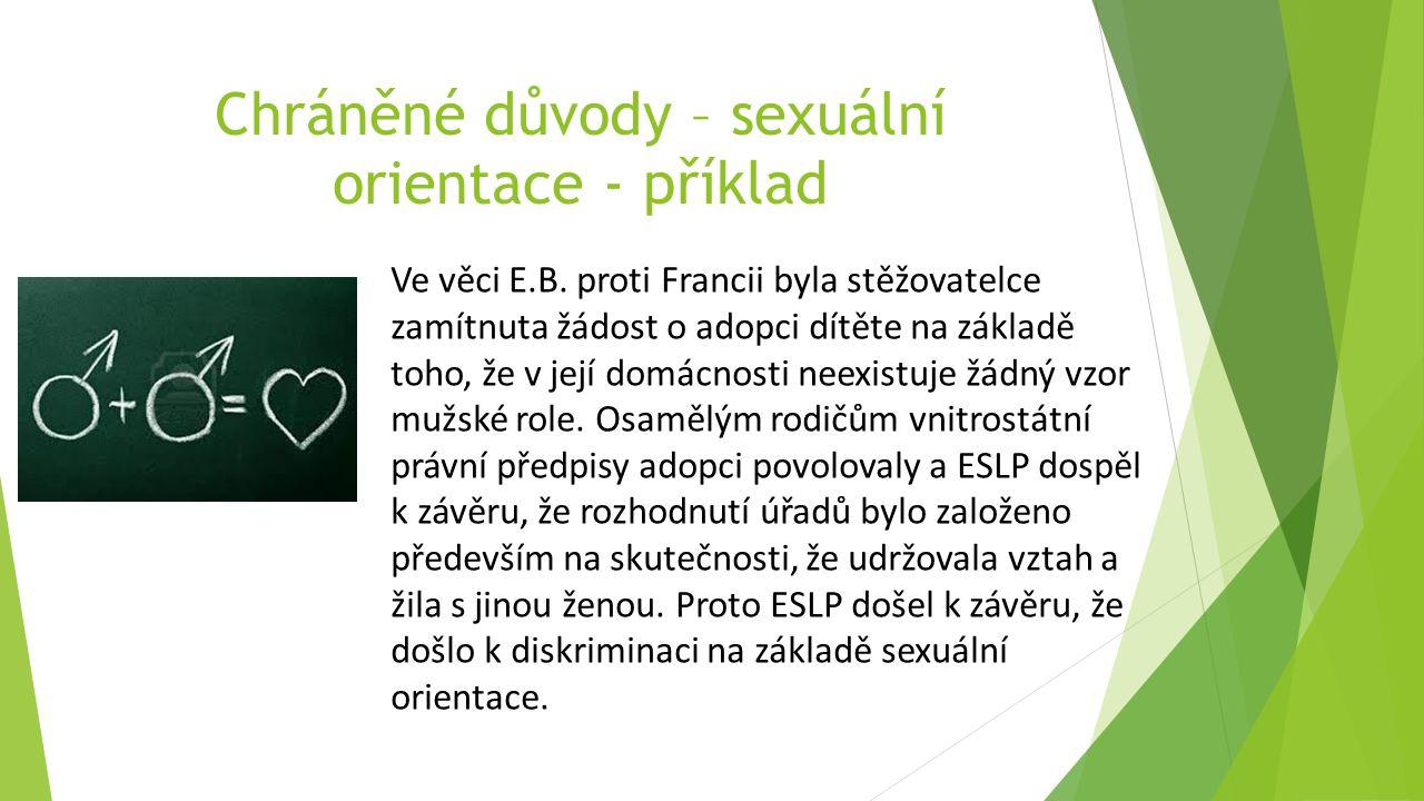 Chráněné důvody – sexuální orientace - příklad