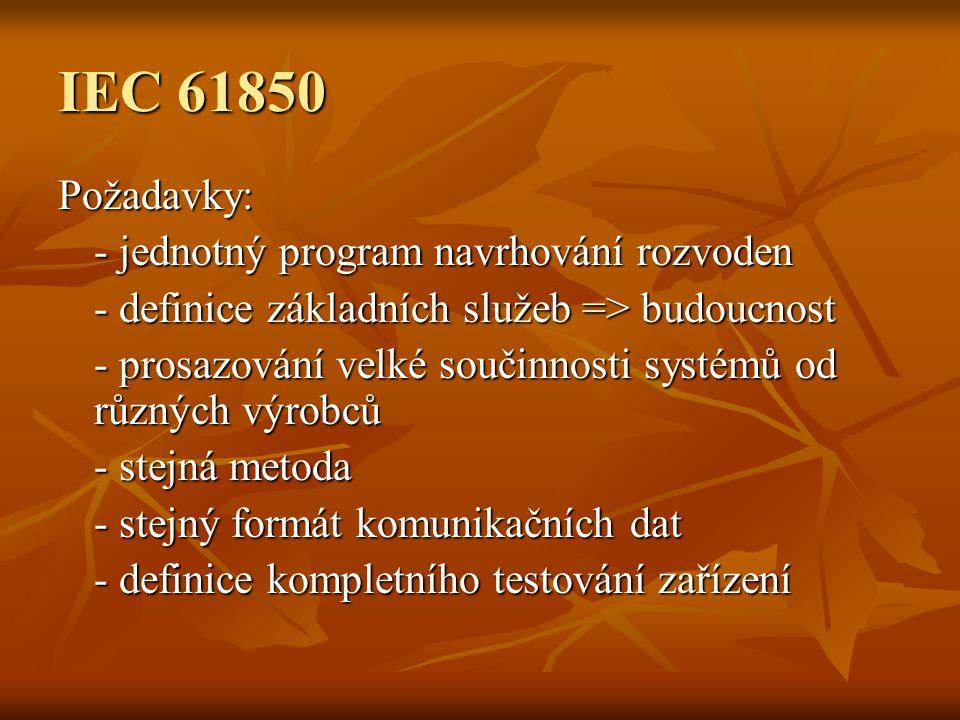 IEC 61850 Požadavky: - jednotný program navrhování rozvoden