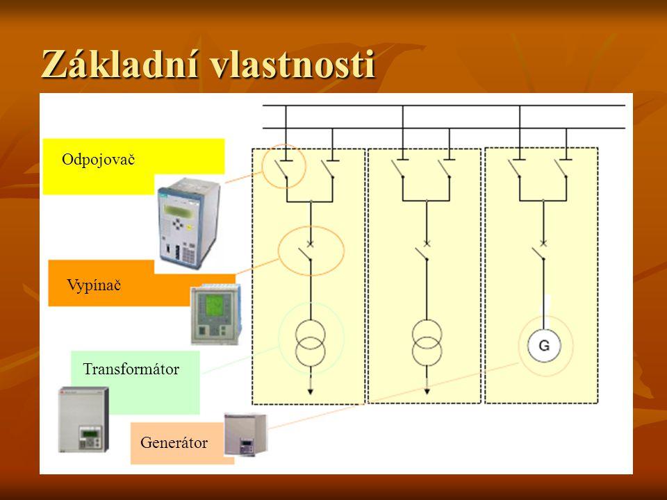 Základní vlastnosti Odpojovač Vypínač Transformátor Generátor