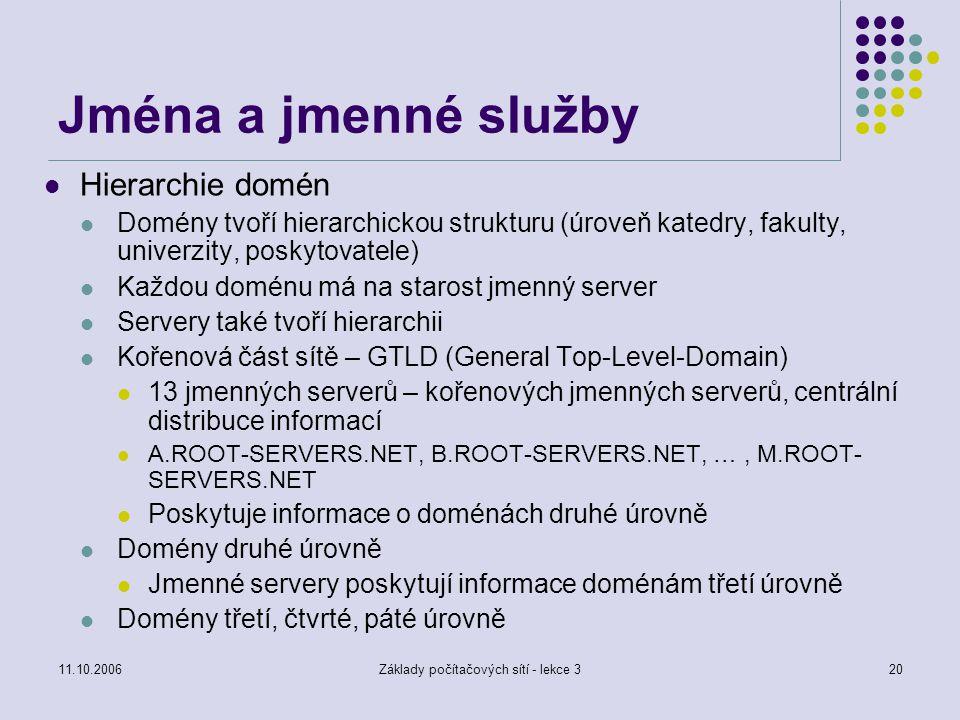 Základy počítačových sítí - lekce 3
