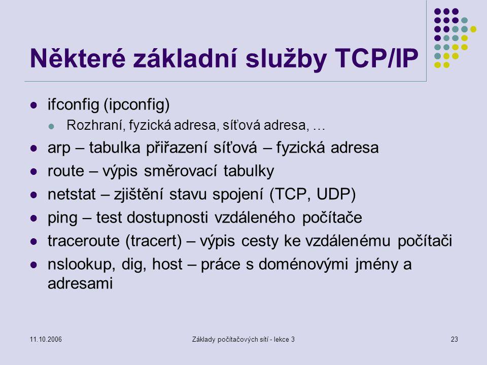 Některé základní služby TCP/IP