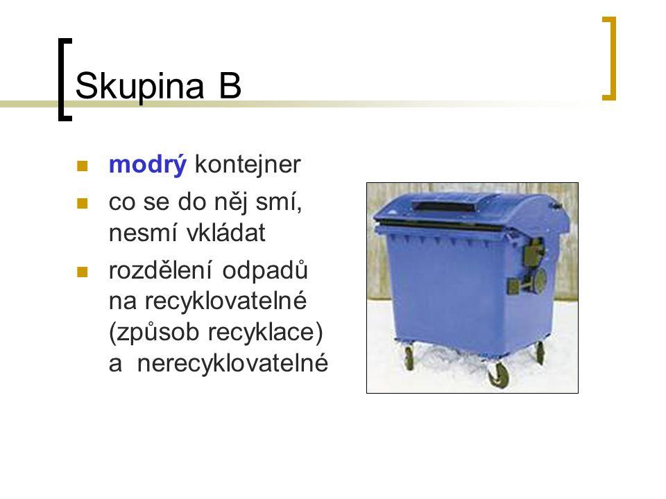 Skupina B modrý kontejner co se do něj smí, nesmí vkládat
