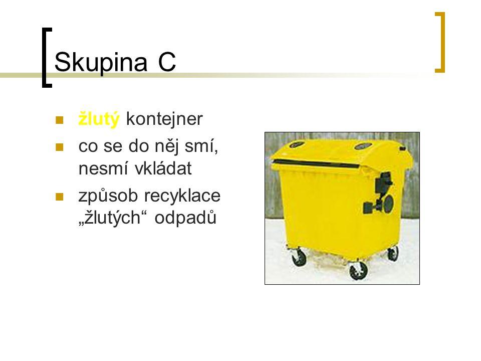 Skupina C žlutý kontejner co se do něj smí, nesmí vkládat