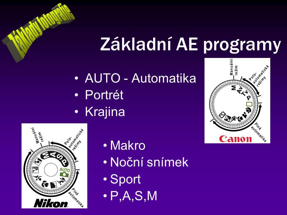 Základní AE programy Základy fotografie AUTO - Automatika Portrét