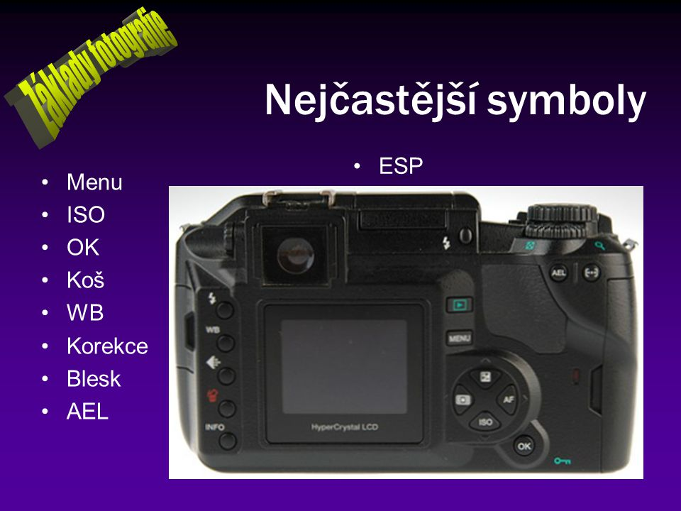Nejčastější symboly Základy fotografie ESP Menu ISO OK Koš WB Korekce