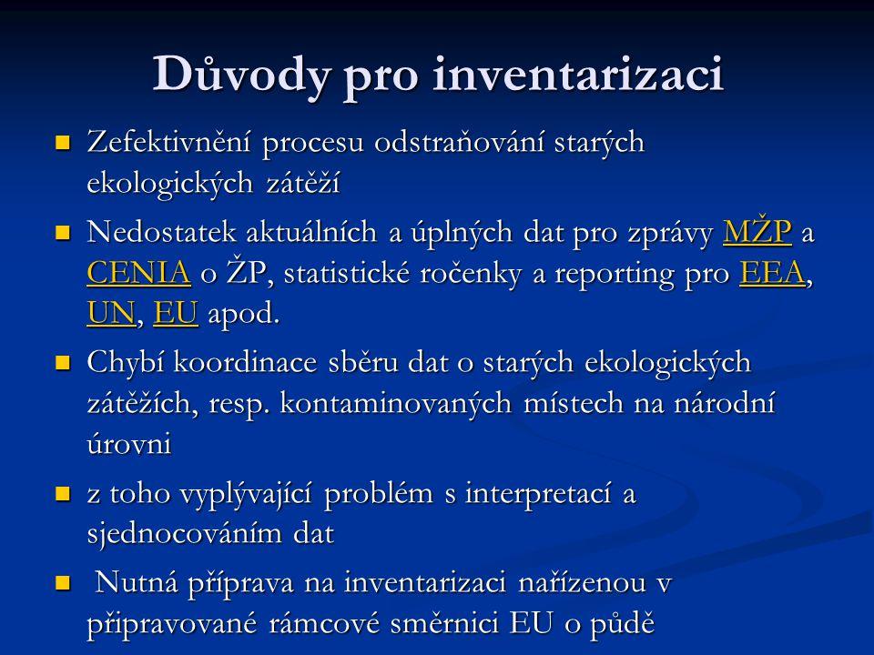 Důvody pro inventarizaci