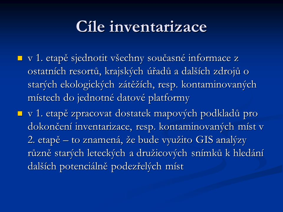 Cíle inventarizace
