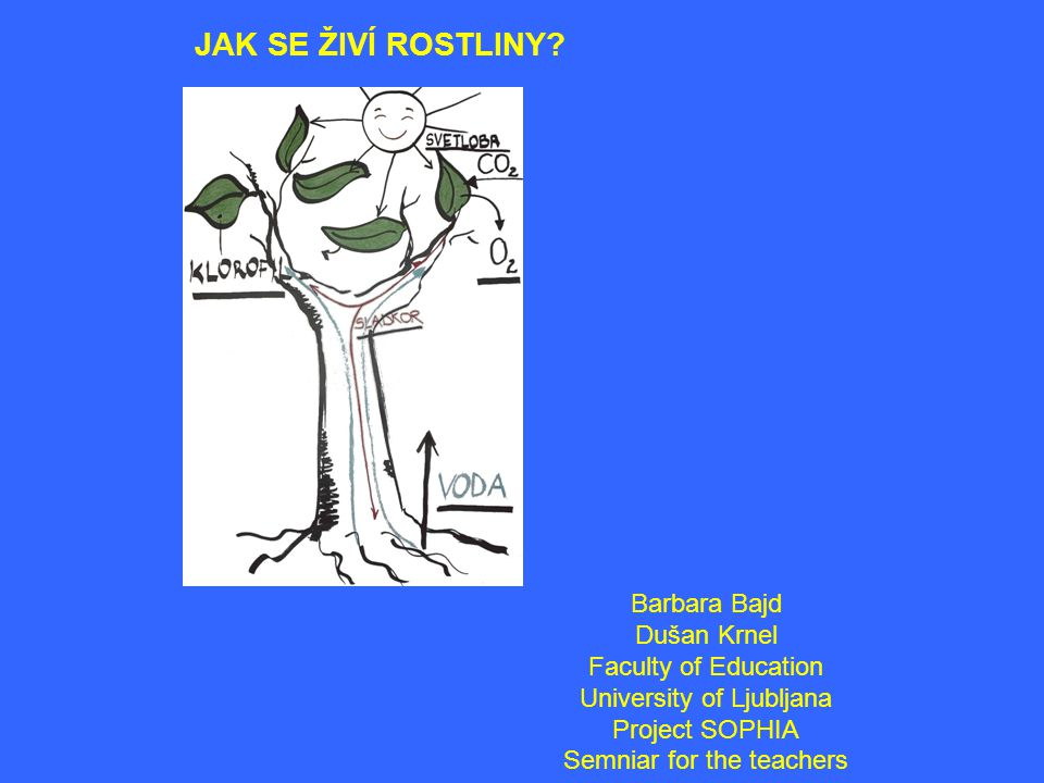 JAK SE ŽIVÍ ROSTLINY Barbara Bajd Dušan Krnel Faculty of Education