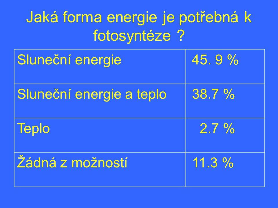 Jaká forma energie je potřebná k fotosyntéze