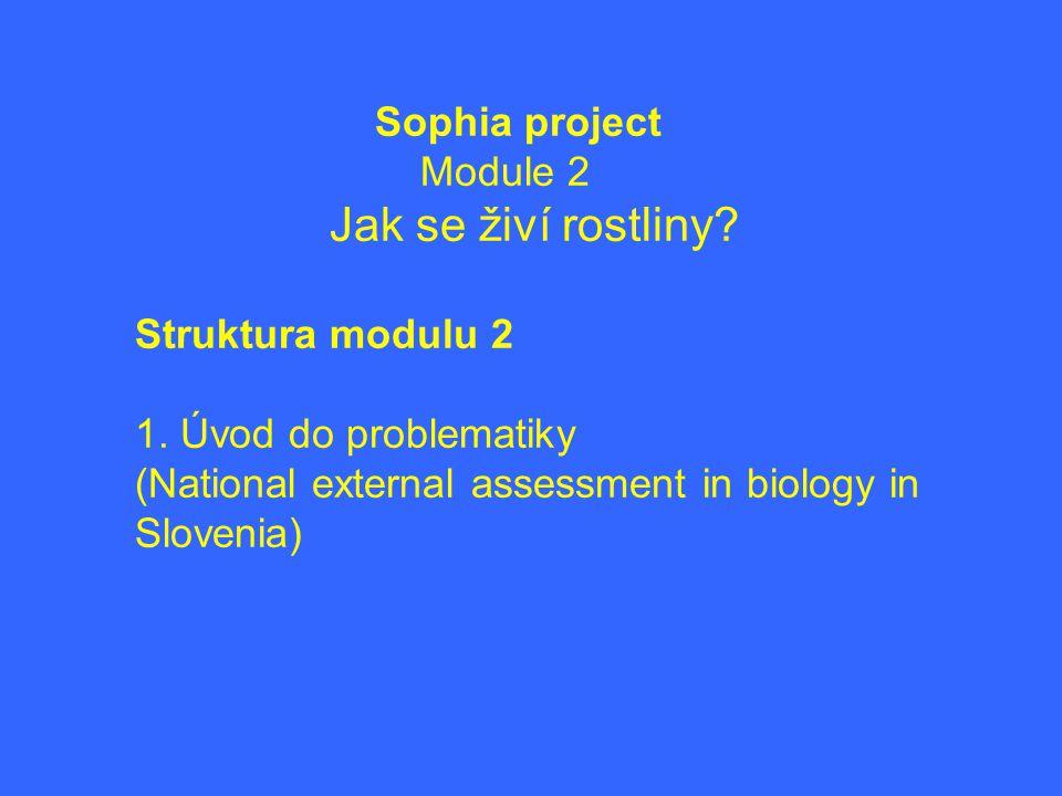 Sophia project Module 2. Jak se živí rostliny. Struktura modulu 2.