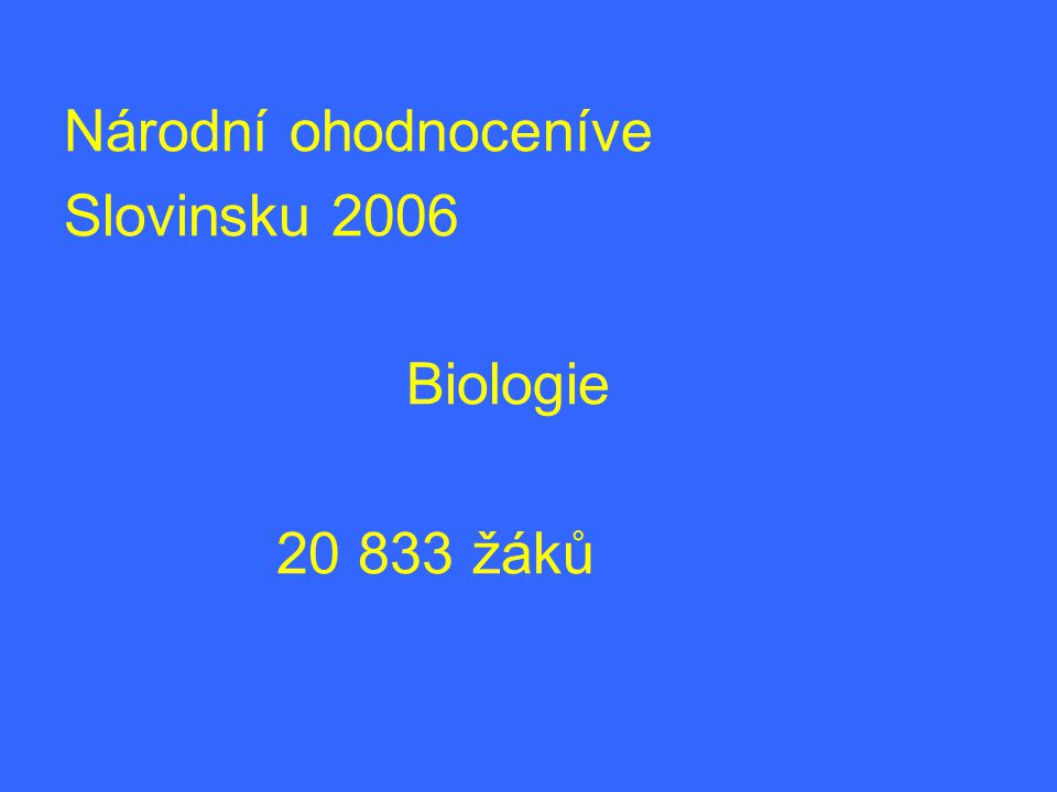 Národní ohodnoceníve Slovinsku 2006 Biologie 20 833 žáků