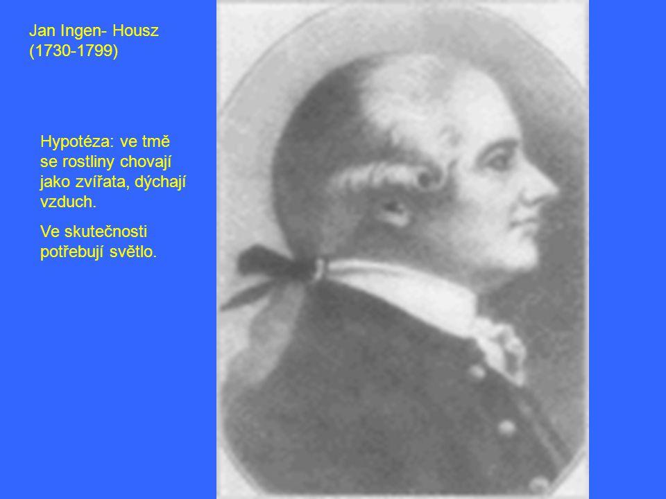 Jan Ingen- Housz (1730-1799) Hypotéza: ve tmě se rostliny chovají jako zvířata, dýchají vzduch.