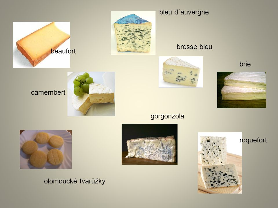 bleu d´auvergne bresse bleu beaufort brie camembert gorgonzola roquefort olomoucké tvarůžky