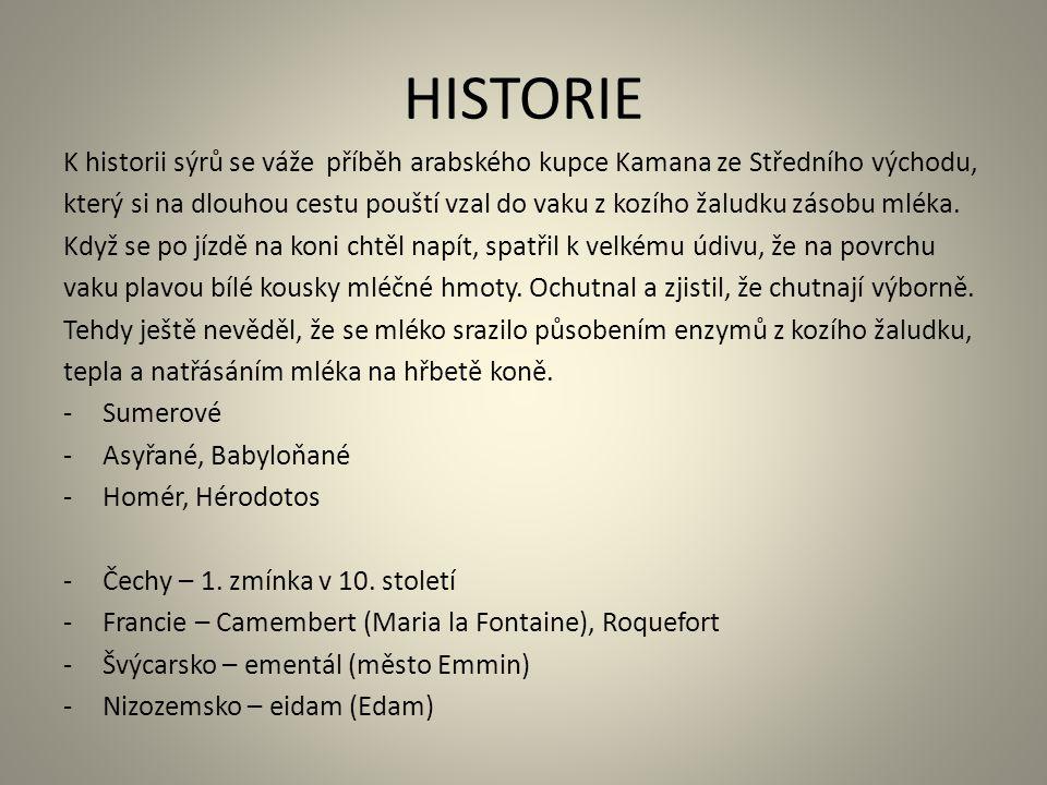 HISTORIE K historii sýrů se váže příběh arabského kupce Kamana ze Středního východu,