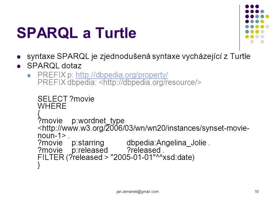 SPARQL a Turtle syntaxe SPARQL je zjednodušená syntaxe vycházející z Turtle. SPARQL dotaz.