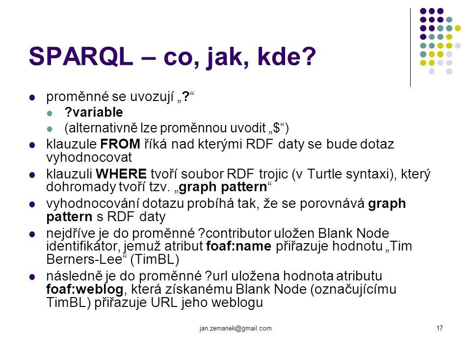 """SPARQL – co, jak, kde proměnné se uvozují """""""