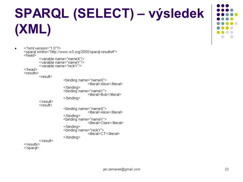 SPARQL (SELECT) – výsledek (XML)